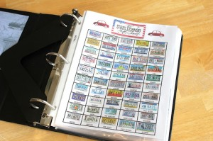 State license tags in road-trip binder